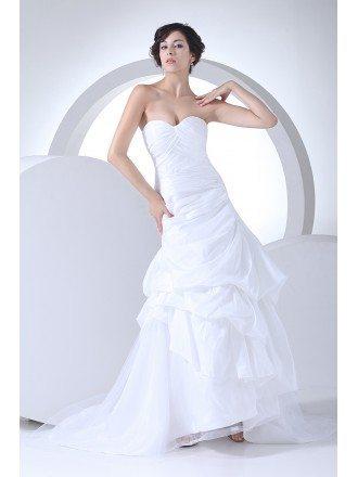 Popular Sweetheart Pleated Taffeta Wedding Dress Custom