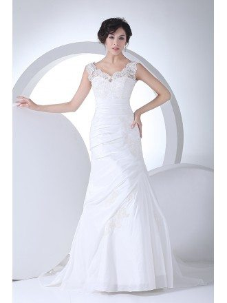 Lace Straps Pleated Taffeta Mermaid Wedding Dress in White