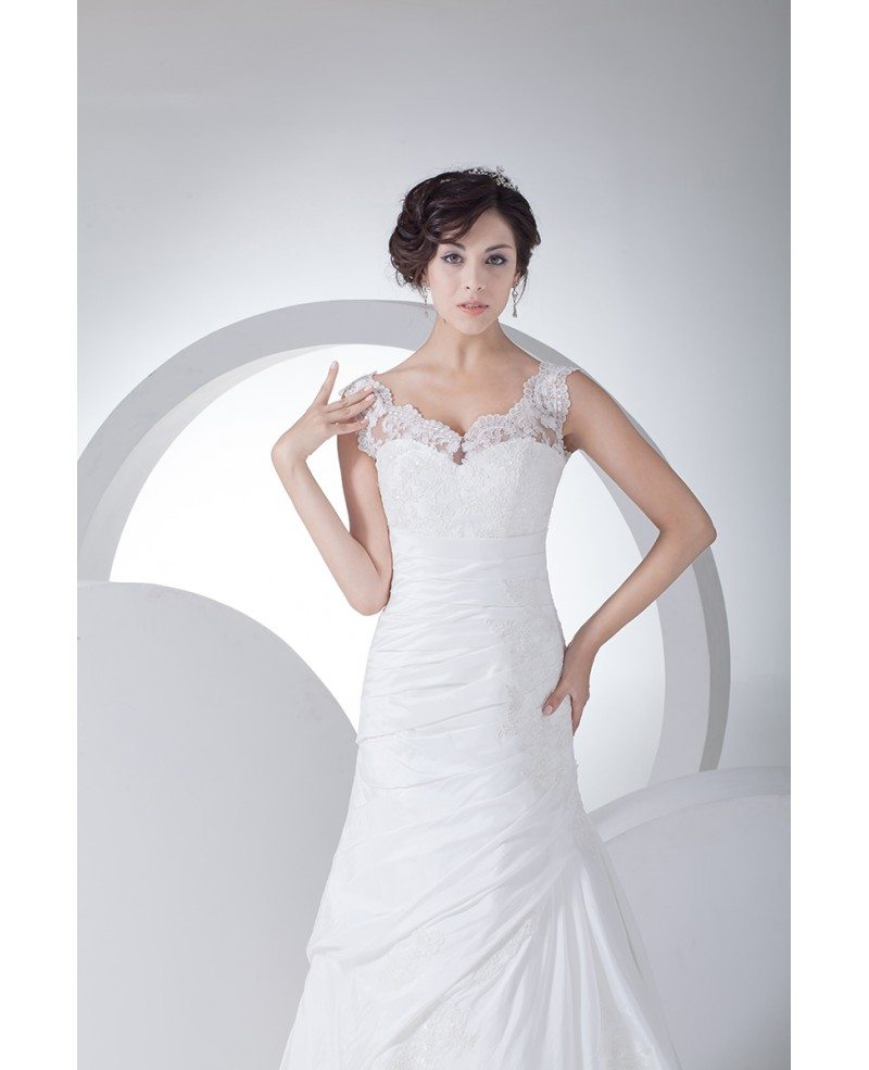 Lace Mermaid Wedding Gown With Straps: Lace Straps Pleated Taffeta Mermaid Wedding Dress In White