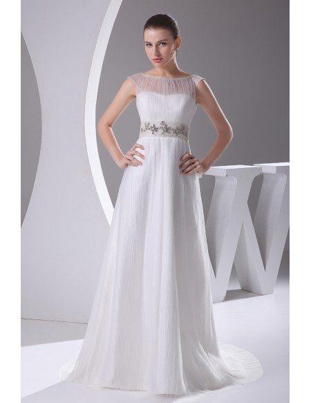 Elegant White Cap Sleeves Beaded Waist Long Formal Dress Custom