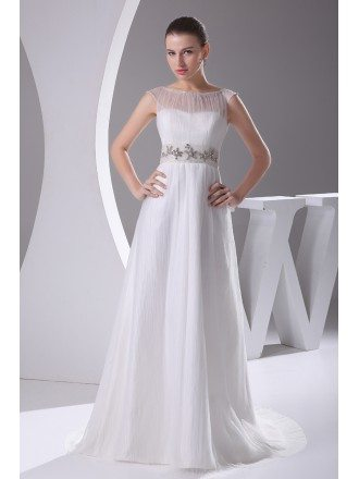 Elegant White Cap Sleeves Beaded Waist Long Formal Dress Custom