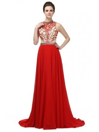 Red A-line Halter Sweep-train Dress With Beading