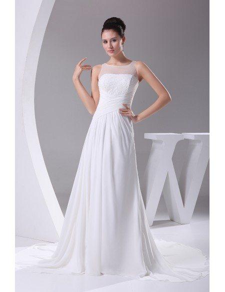 Simple Beaded Top Long Pleated Chiffon Wedding Dress Custom