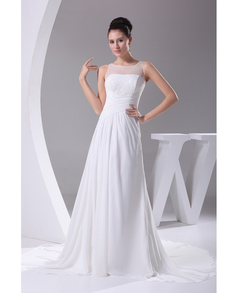 Wedding Gown Tops: Simple Beaded Top Long Pleated Chiffon Wedding Dress