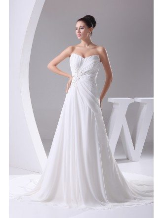 Beaded Lace Long Chiffon Wedding Dress with Train