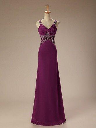 A-Line V-neck Floor-Length Chiffon Prom Dress With Beading