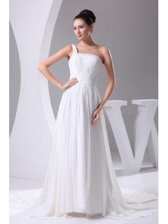 Elegant Long Pleated One Shoulder Wedding Dress in Chiffon