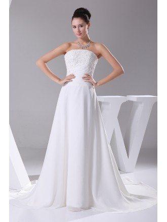 A-line Long Chiffon Beaded Lace Wedding Dress with Train