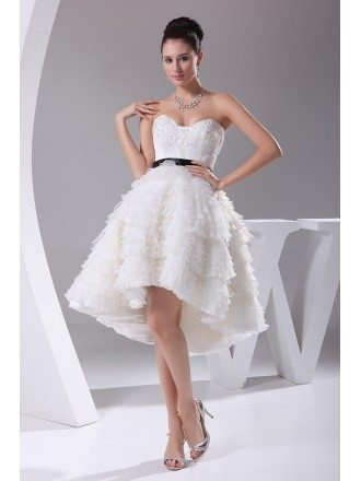 Cute Sweetheart Asymmetrical Short Length Wedding Dress