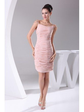 Pink Sequined Cap Sleeves Fitted Short Bridal Party Dress