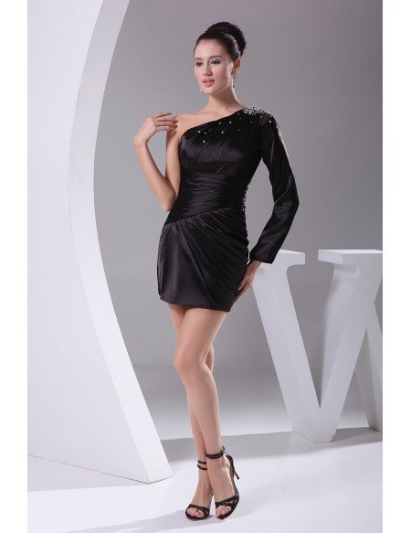 Little Black One Long Sleeve Pleated Mini Short Party Dress