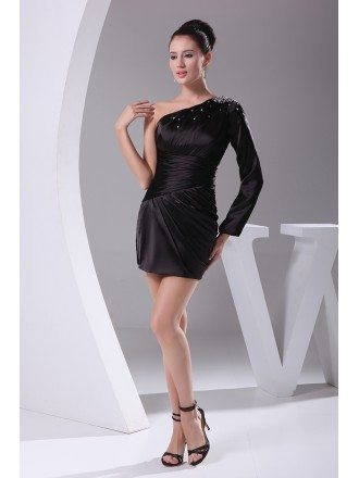 Little Black One Long Sleeve Pleated Mini Short Party Dress