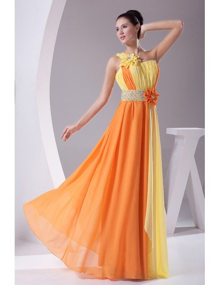 Colorful Yellow and Orange Floral One Shoulder Floor Length Prom Dress