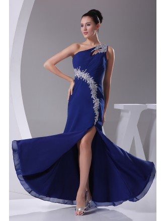 Classic Royal Blue Sexy Split Front Prom Dress One Strap