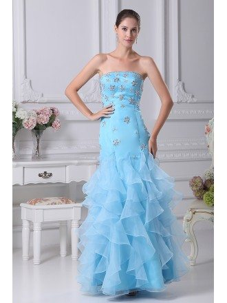 Cute Beaded Blue Sheath Prom Dress with Ruffles