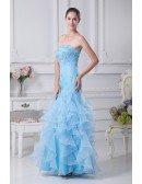 Cute Beaded Blue Sheath Prom Dress with Ruffles