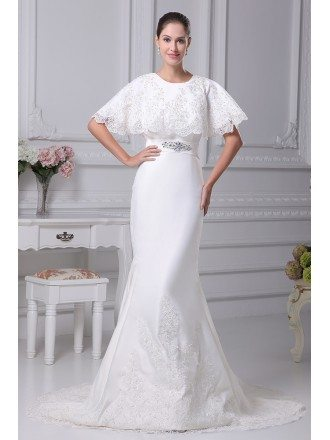 Charming Lace Mermaid Long Wedding Dress with Lace Top