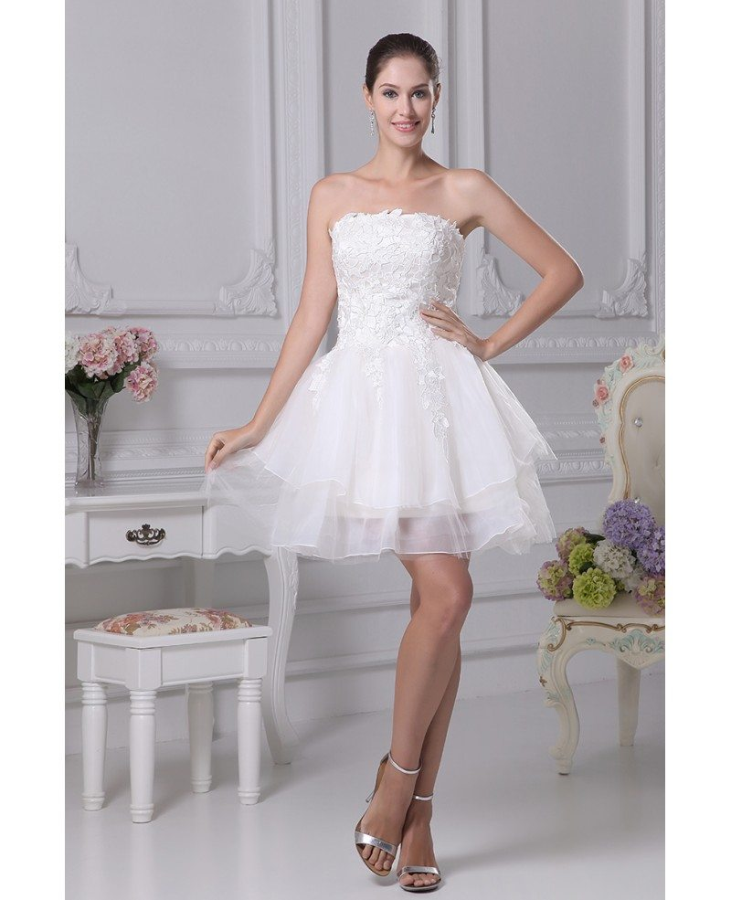 Strapless Tulle Short Wedding Dresses Tutu Lace Reception