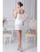 Mini Short Beaded One Strap Bridal Party Dress