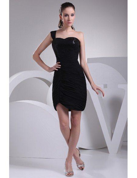 Little Black One Shoulder Pleated Bridesmaid Dress