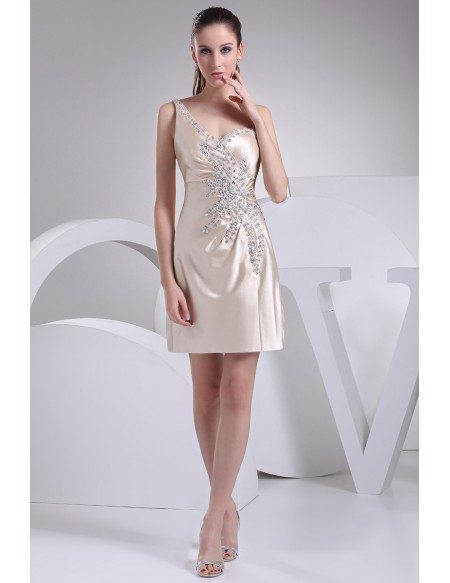 Beautiful Side Beaded One Strap Champagne Bridal Party Dress