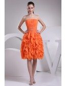 Coral Strapless Knee Length Party Dress Custom