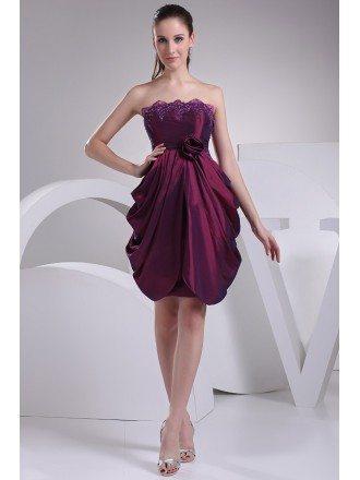 Strapless Ruffled Taffeta Purple Bridal Party Dress