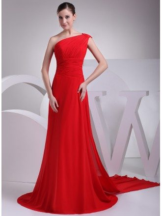 Elegant Red Long Chiffon One Shoulder Formal Dress Custom