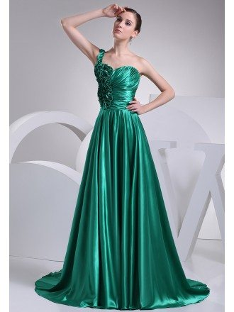 Teal Long Satin Floral One Strap Formal Dress