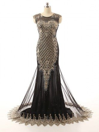 Sheath Scoop Neck Chaple Train Chiffon Evening Dress With Beading Appliques Lace
