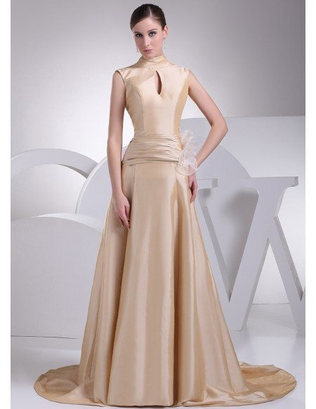 Elegant High Neck Champagne Long Taffeta Formal Dress with Train