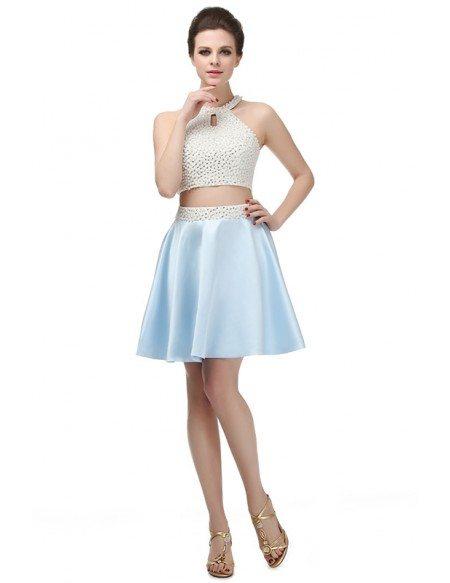 Short A-line Tea-length Prom Dress with Halter Top
