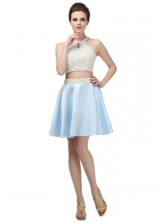 Short A-line Tea-length Prom Dress with Halter Top