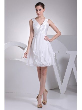 Satin with Chiffon V-neck Short Ruffled Bridal Dress Reception
