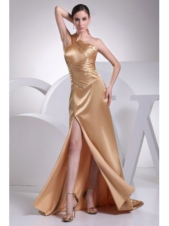 Gold Pleated One Shoulder Formal Prom Dress with Split Front