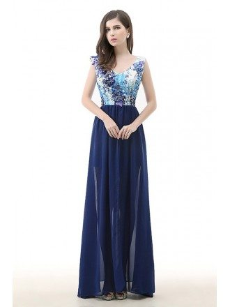 A-Line V-neck Floor-Length Chiffon Prom Dress With Sequin Appliques