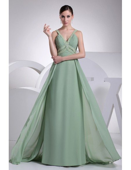 Sage Colored Prom Dress