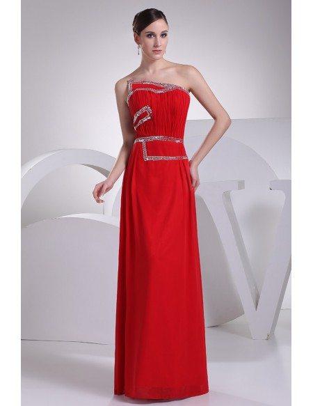 Beaded Red Floor Length Chiffon Bridal Party Dress