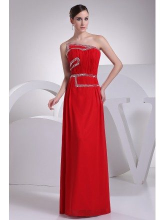 Beaded Red Floor Length Chiffon Bridal Party Dress