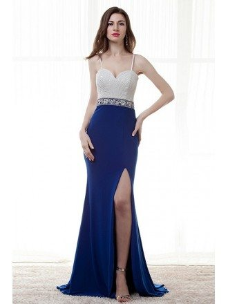 A-Line Sweetheart Sweep Train Chiffon Prom Dress With Beading Sequins Split Front