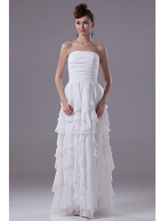 Strapless Cascading Ruffles Floor Length Chiffon Bridal Dress