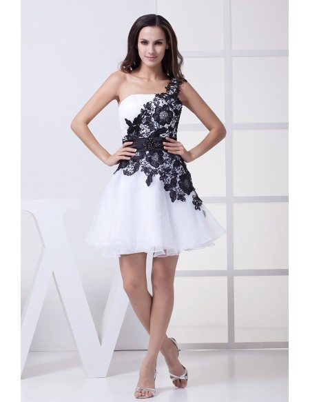 One Shoulder Lace Navy Blue and White Puffy Prom Dress Short