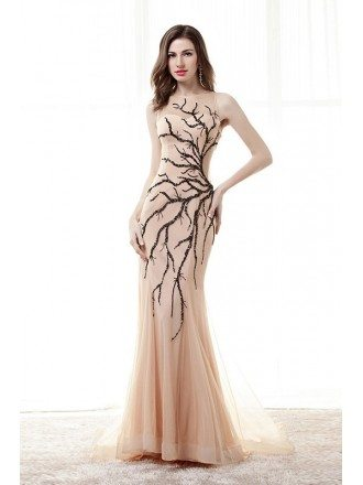 Sheath Scoop Neck Sweep Train Chiffon Prom Dress With Sequins