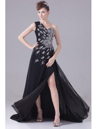 Long Formal Sequined One Shoulder Prom Dress with Split Front
