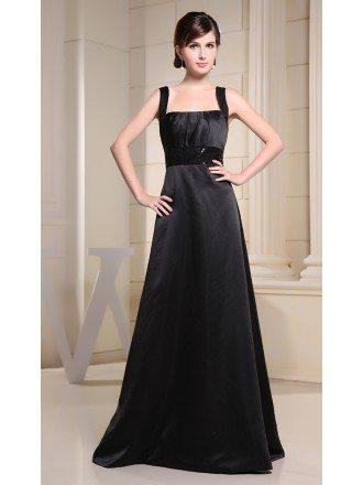 A-line Square Neckline Floor-length Satin Evening Dress