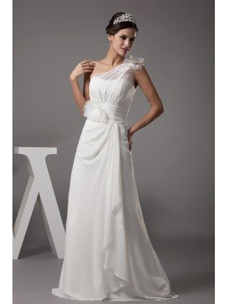 Floral One Shoulder Floor Length Chiffon Wedding Dress