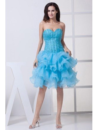 Classic Blue Sequined Organza Ruffles Sweetheart Prom Dress Short