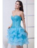 Classic Blue Sequined Organza Ruffles Sweetheart Prom Dress Short