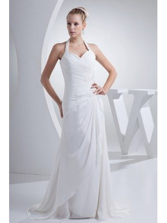 Beaded Long Halter Side Pleated Chiffon Beach Wedding Dress