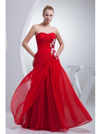 Sweetheart Red Chiffon Modest Long Prom Dress